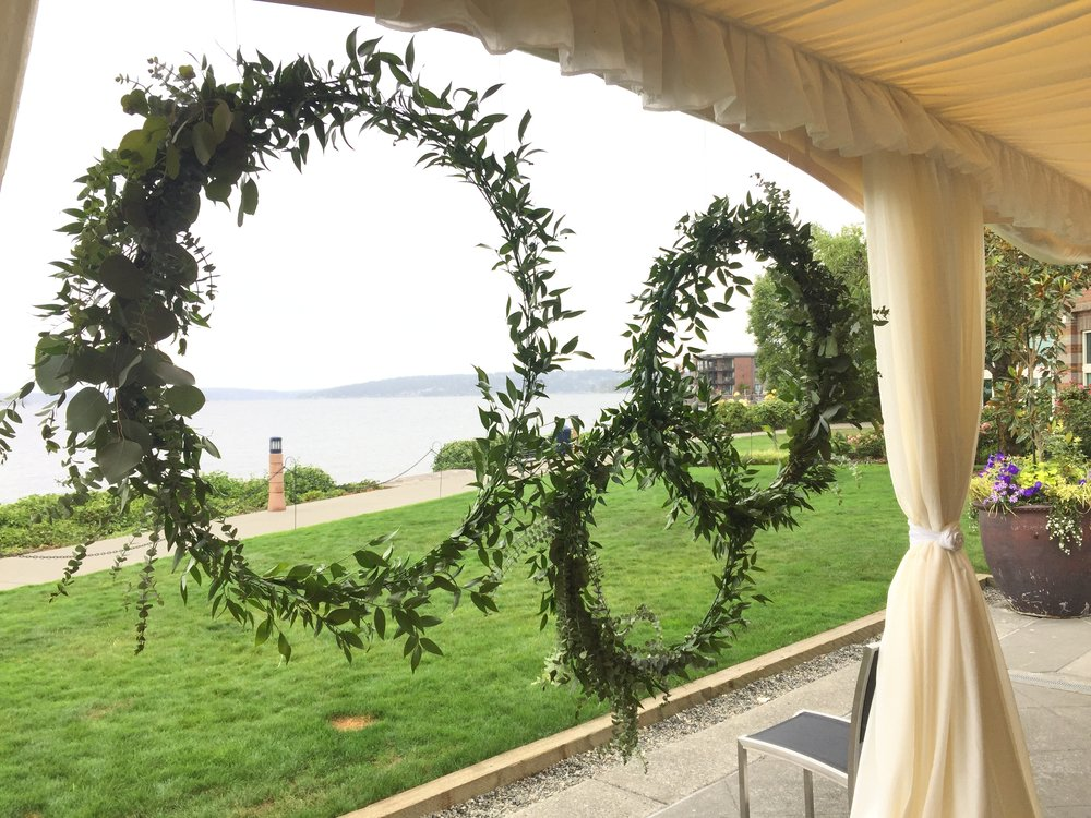Greenery ceremony backdrop-IJ Photo