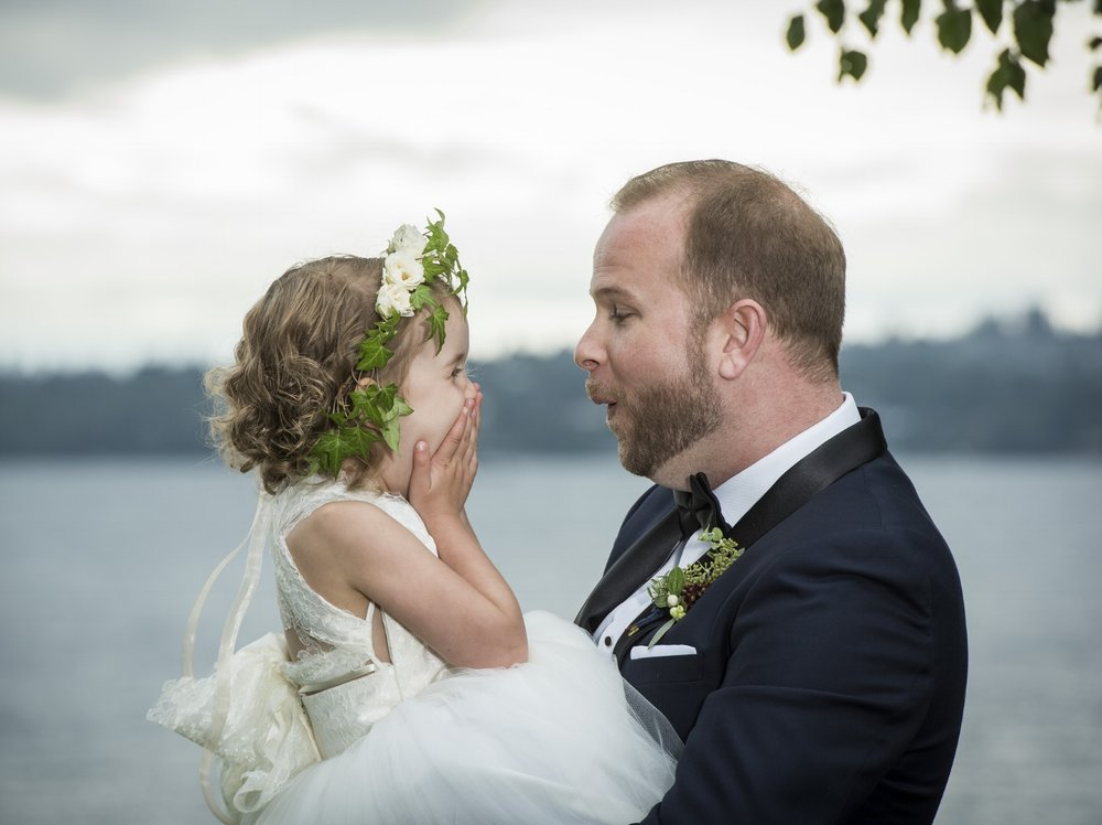 Groom & flower girl with flower crown