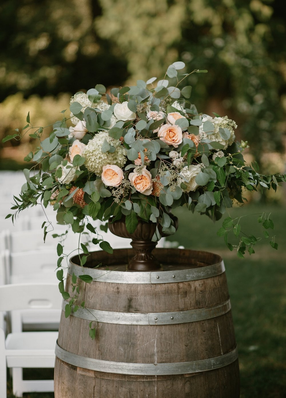 Vintage urn on wine barrel-Photos by Kristen Marie Parker