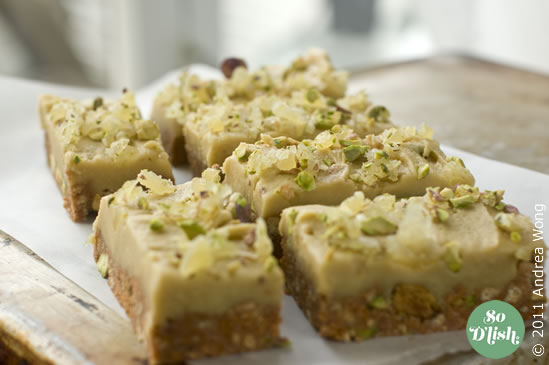 No bake pistachio ginger crunch