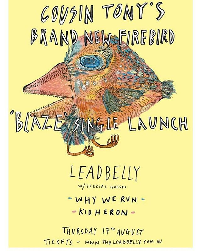 This Thursday's show with @cousintonysbrandnewfirebird and @kidheron is looking like it could sell out. Grab tix at www.theleadbelly.com.au