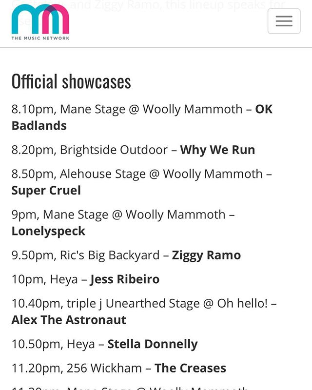 Thanks #themusicnetwork for choosing us as one of your #bigsound17 highlights tonight. Pumped for @thecreases & @stelladonnelly too