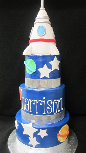 Rocket Ship Outer Space 3 Tiered Cake