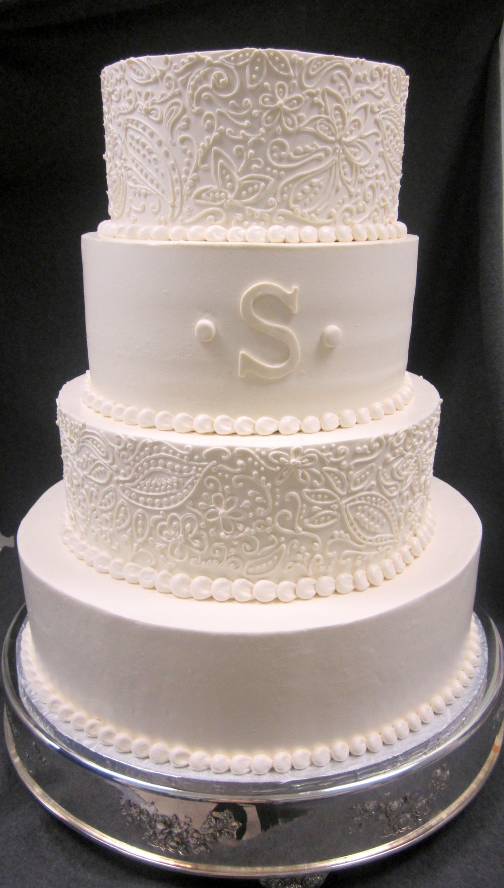 wedding cake-lacey scrolls and monogram.jpg