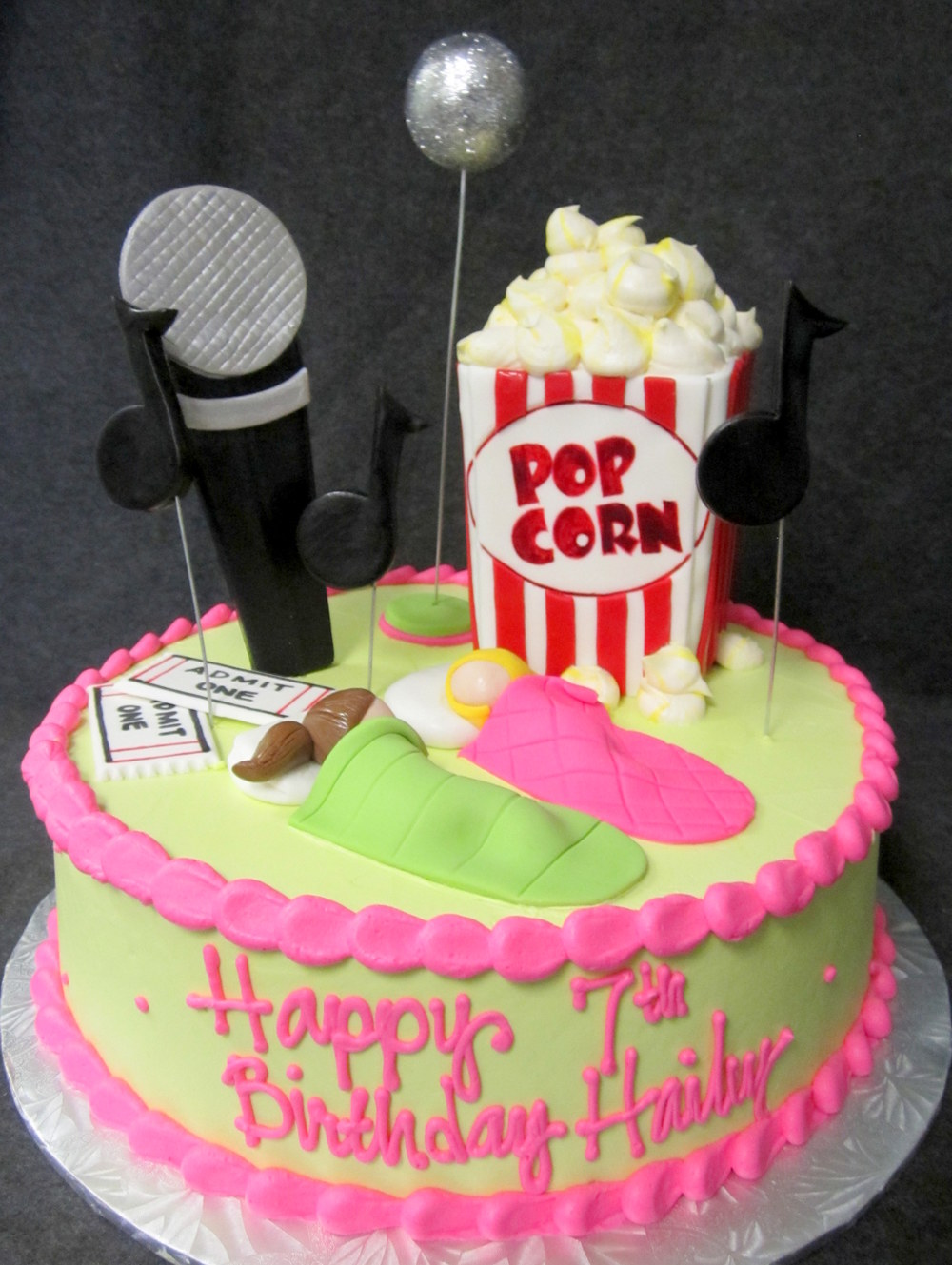 music notes popcorn sleepover girls cake.JPG