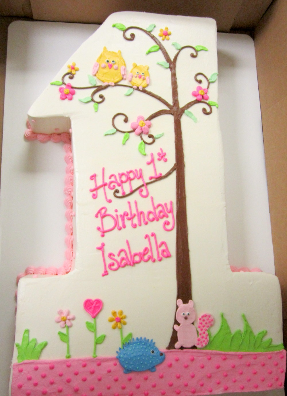 one cake for 1st girls bday- owls pink squirrel forest.JPG