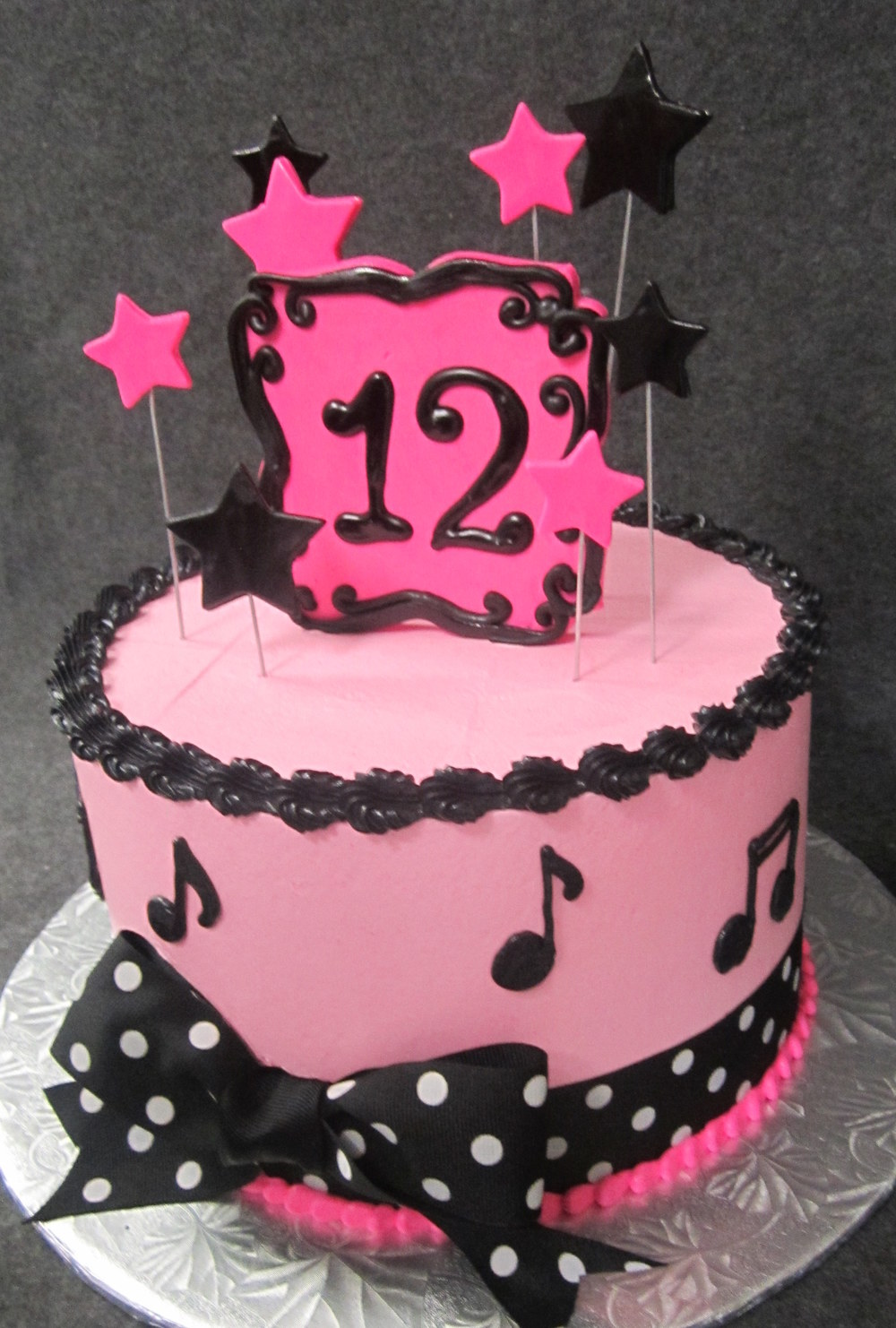 pink and black 12 plaque and star cake.JPG