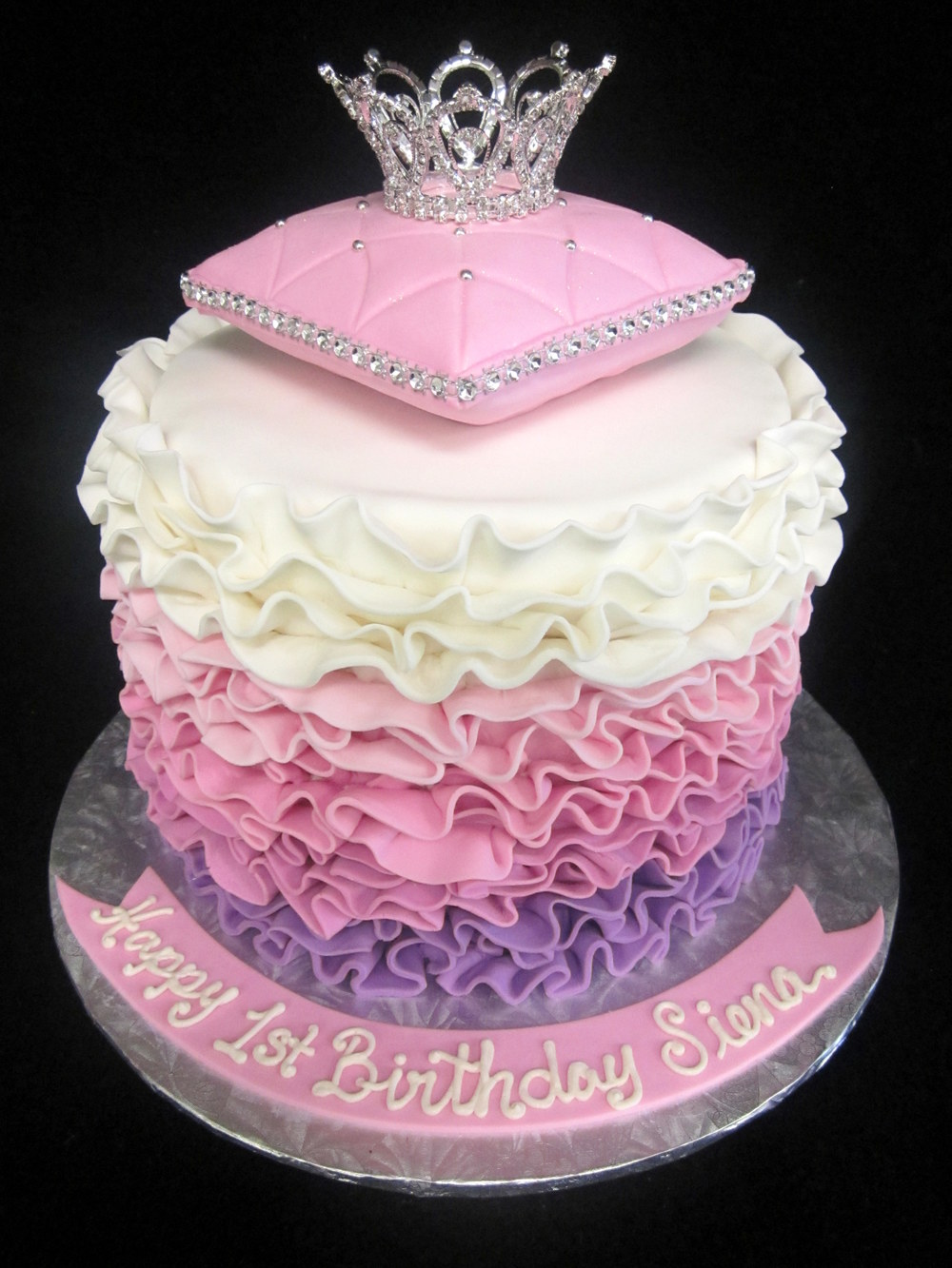 ombre fondant ruffles with pillow and crown.JPG