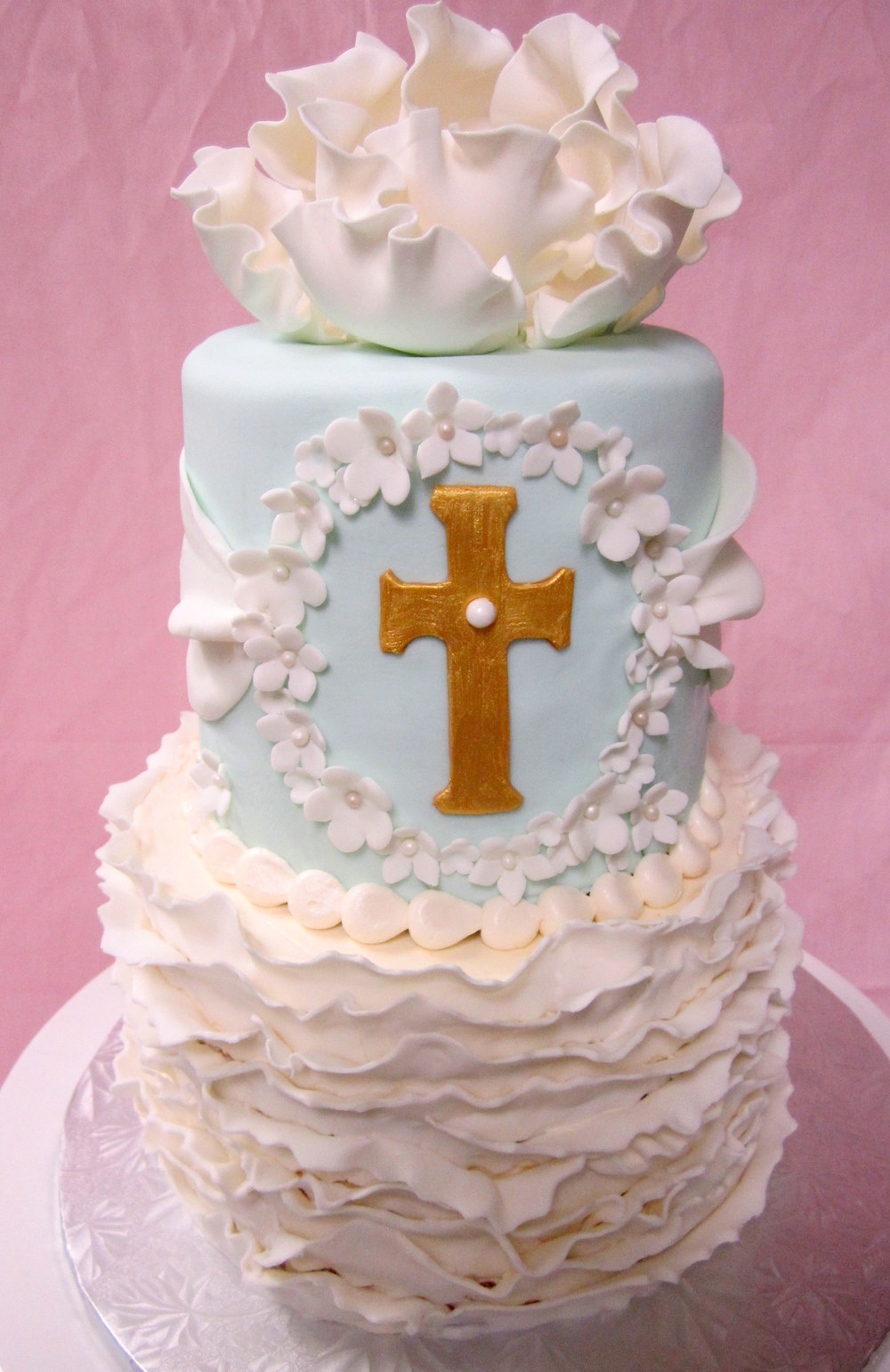 communion white fondant ruffles gold cross white flowers.JPG