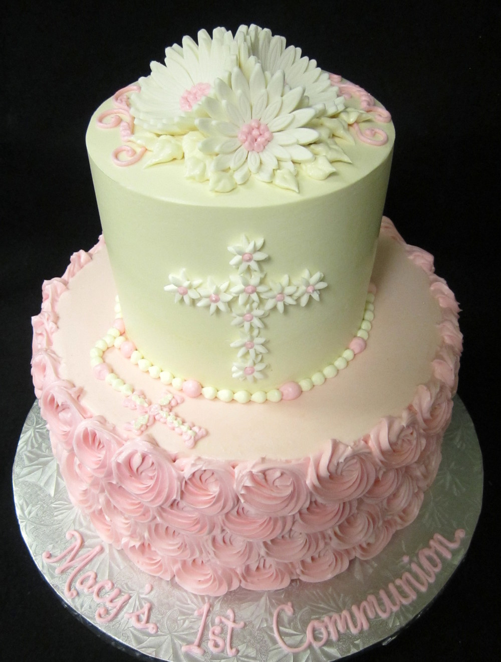 daisy cross communion rosette cake.JPG