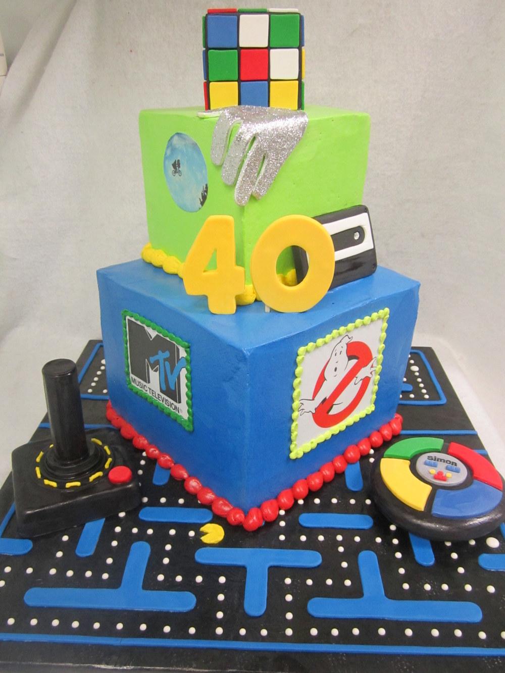 pacman 80's theme cake.jpg