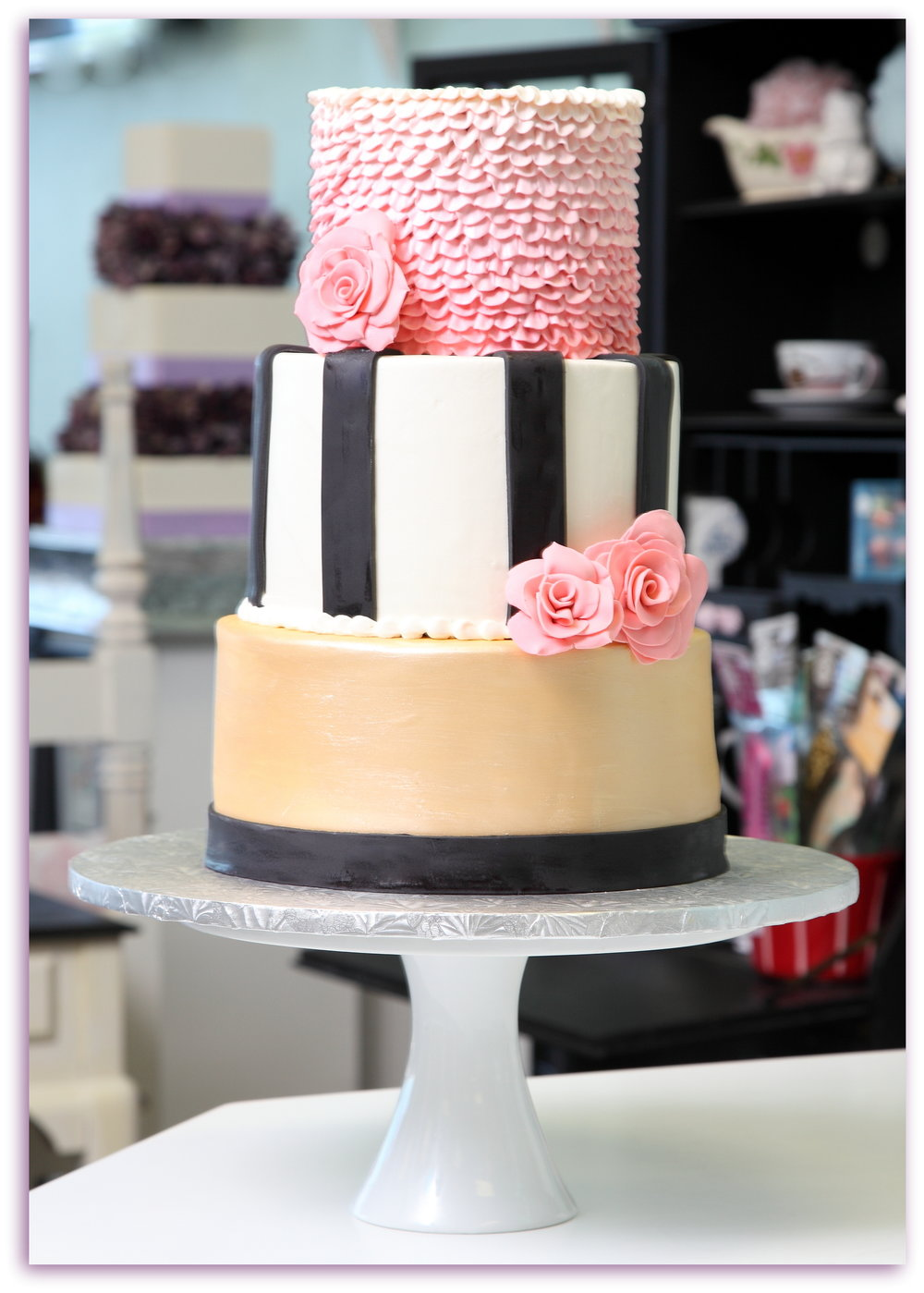 pink black and gold kate spade style three tiered.JPG