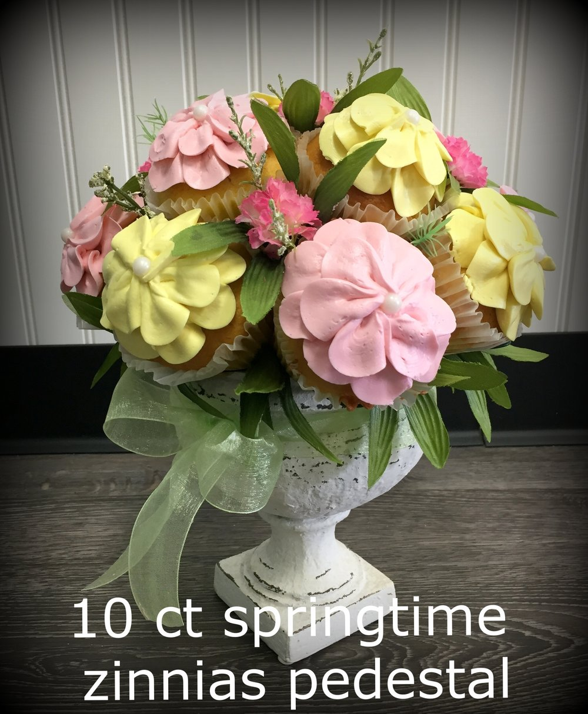 bouquets - 12 ct daisies pink yellow garden pedestal.JPG