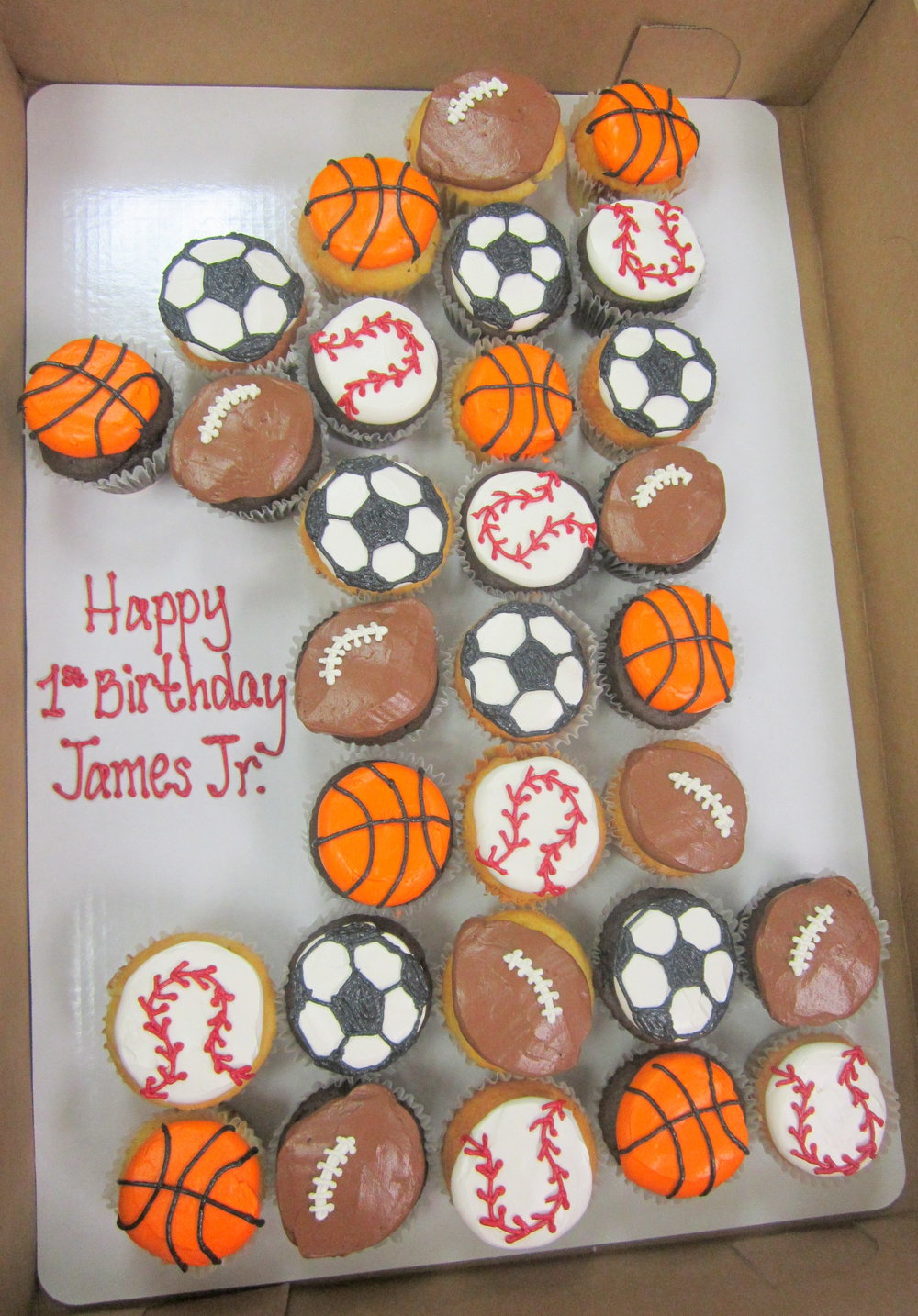 cupcakes - sports cupcakes one shaped.JPG