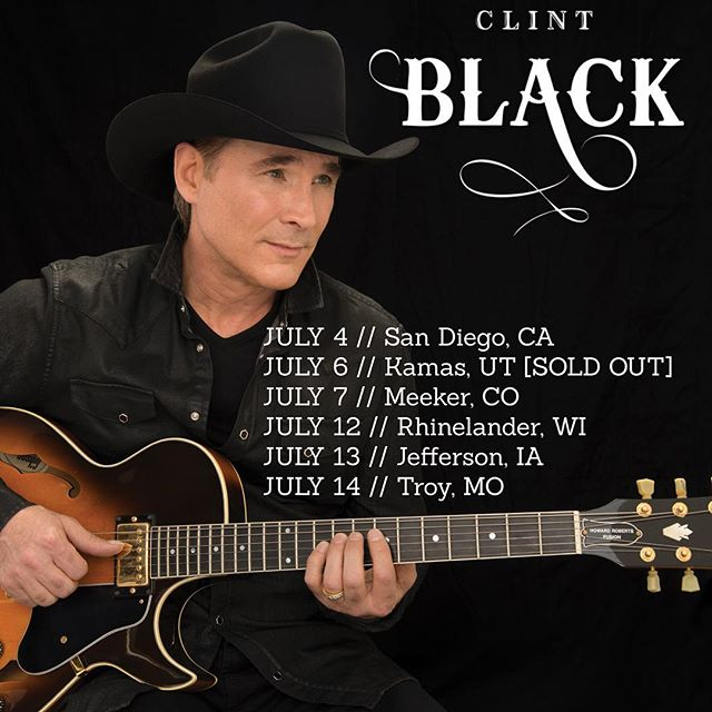 Looking forward to my shows in California, Utah, Colorado, Wisconsin, Iowa, and Missouri! Hope to see you there! Tickets available at: www.clintblack.com/tour/