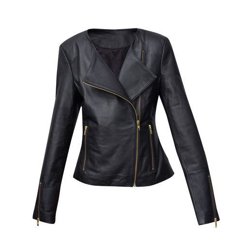 a1dbd964d8f5 LJYH Girls Faux Leather Quilted Shoulder Motorcycle Jacket. BLACK LEATHER  JACKET WITH GOLD ZIPS (CUSTOM MADE)
