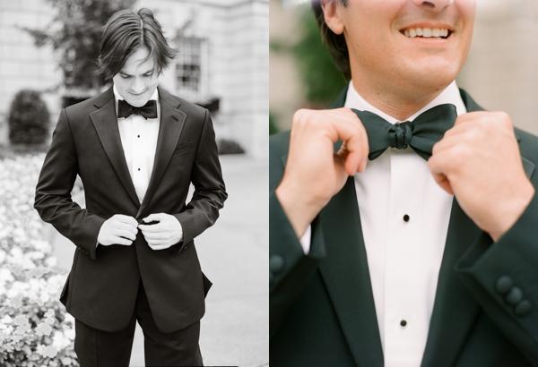 groom getting dressed at hay adams hotel wedding