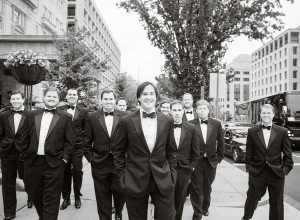 groom and groomsmen at hay adams hotel wedding dc