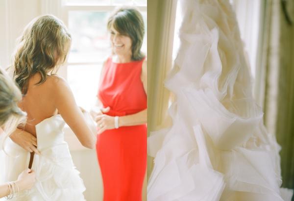 bride getting dressed at hay adams hotel
