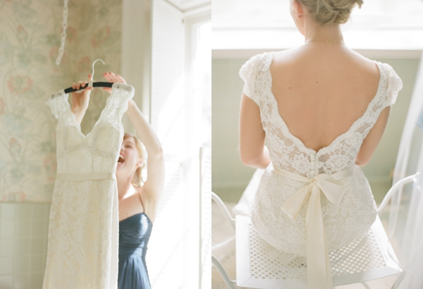 bride getting dressed at home