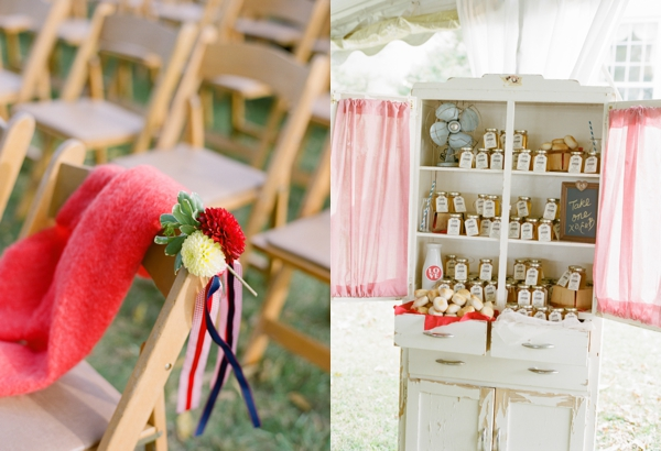 painted hutch with honey for wedding favors