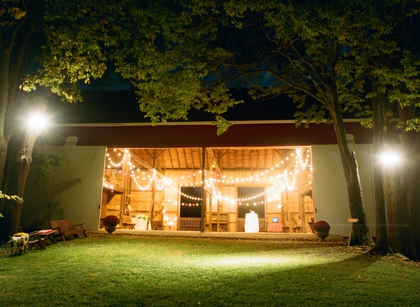 barn with cafe lights for maryland wedding