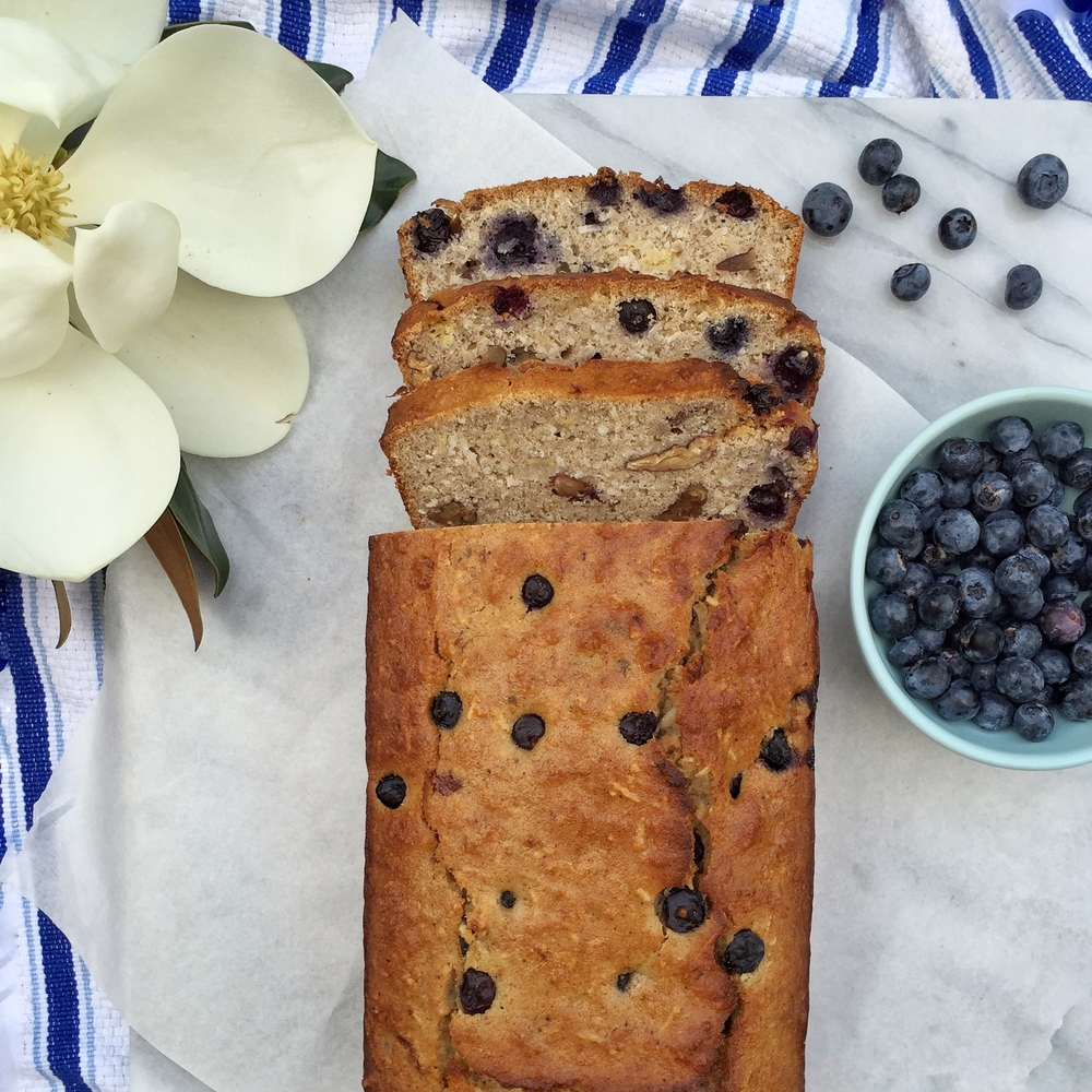 Blueberry banana and pecan bread