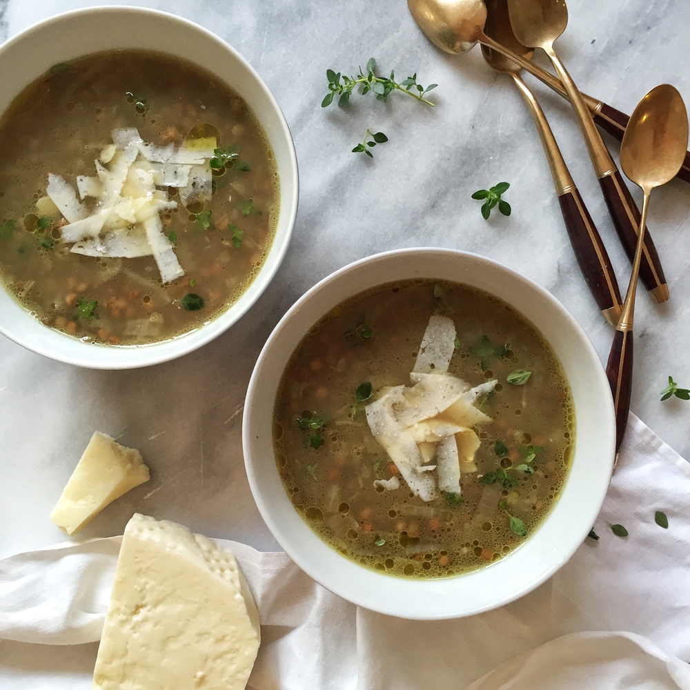 caramelised fennel, lentil & Thyme soup