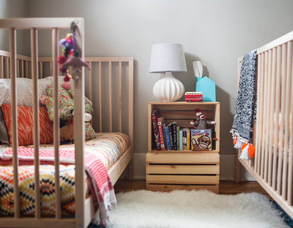 This is my kid's room. there is normally a white noise machine where the sock monkey is. took it out for the photo shoot not realizing i'd be referencing it!