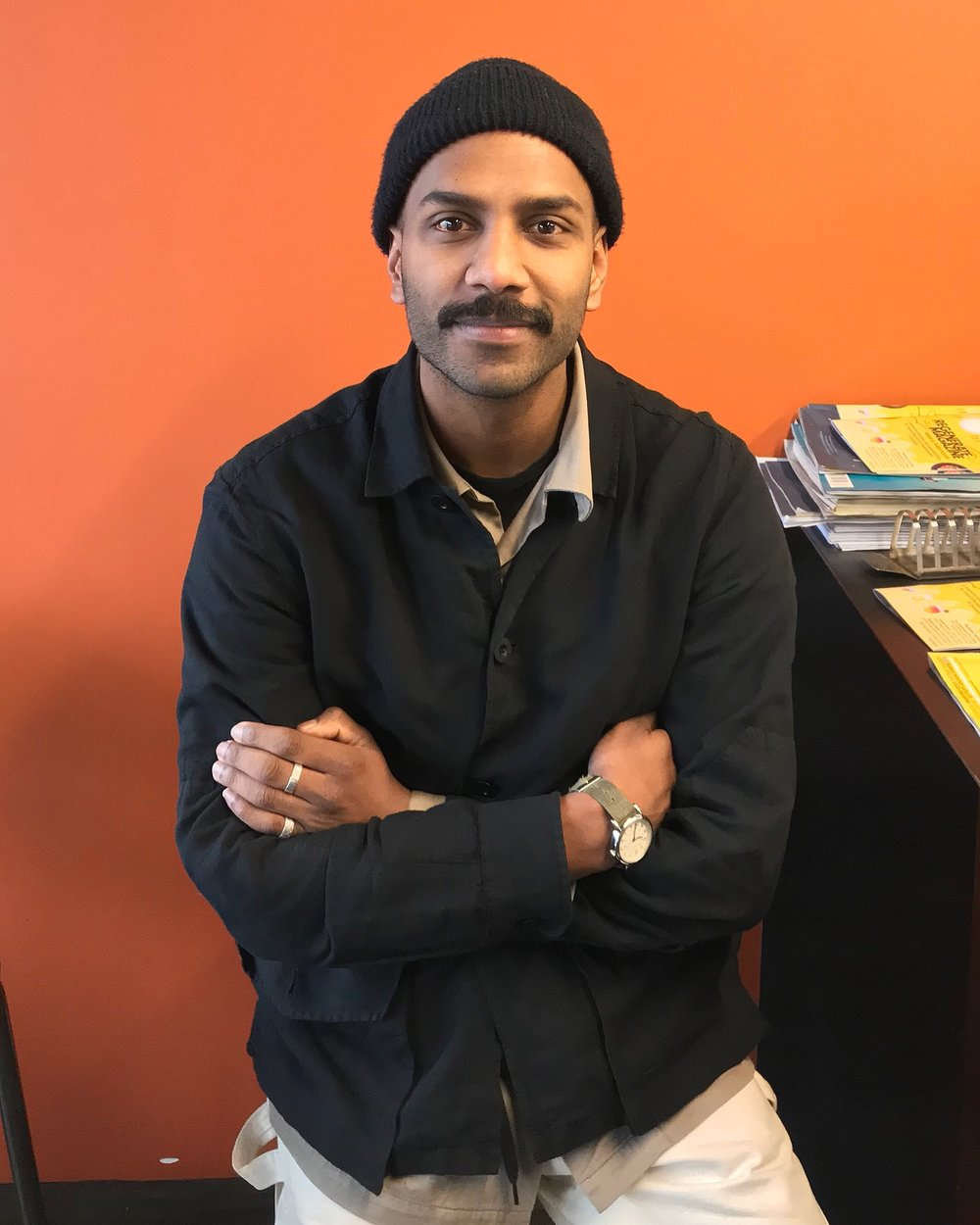 Prak Dashark from Precinct 35 fashion interview with James Butters from ai at Milk Crate Cafe Wellington City.JPG