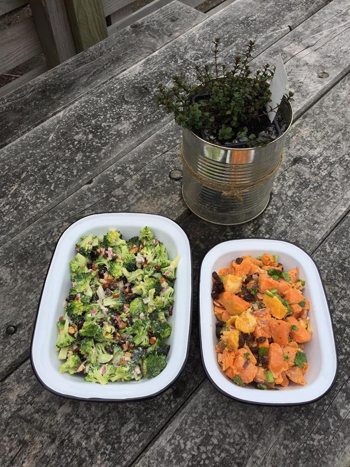 Broccoli, almond and red onion and a Kumara, orange and bacon salad