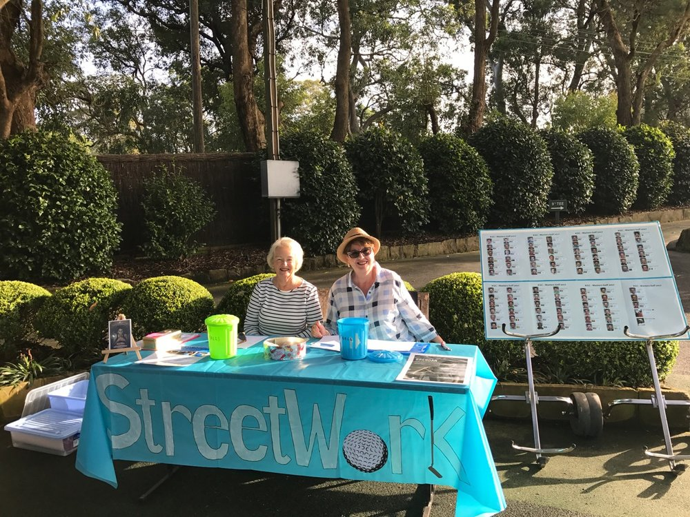 Killara Golf Club members, Deni Rolleston and Glenys Nice, selling raffle tickets at a recent fundraising event.