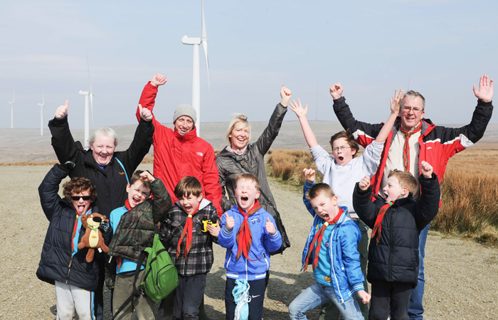 Scouts on Scout Moor Wind Farm