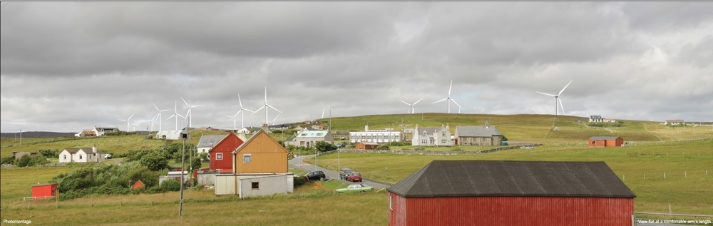 Photomontage of Beaw Field Wind Farm from Old Haa Museum Burravoe