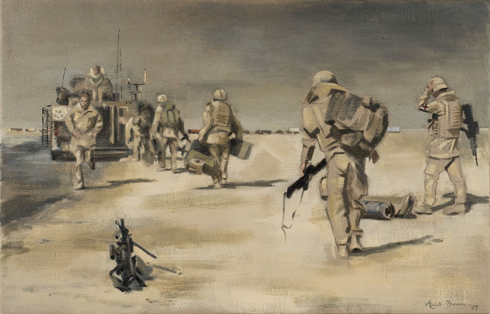 Before the Convoy, Shaibah Logistics Base%0AOil on canvas, 30 x 46%0A.jpg
