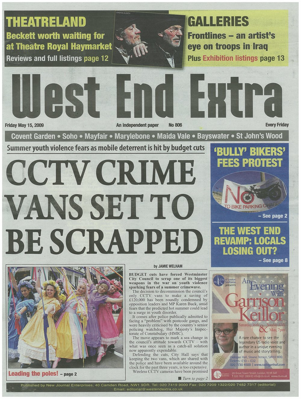 West End Extra (cover) May 15 2009.jpg