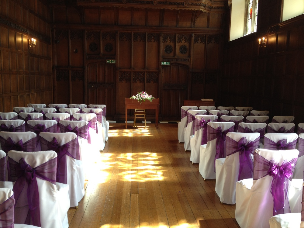 Hengrave Hall with cotton cover & purple pearl sash