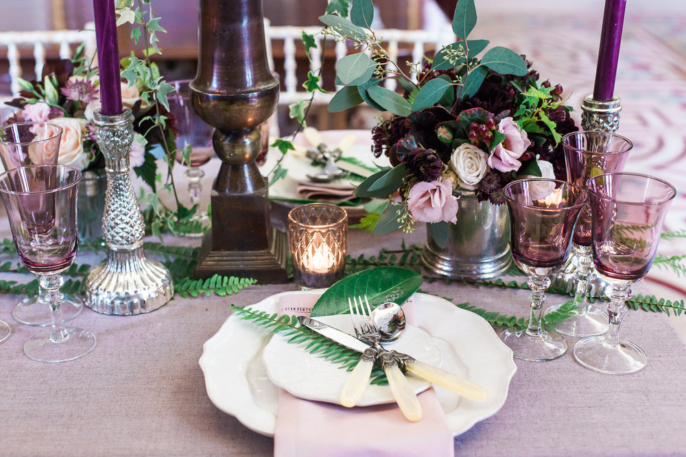 table reception wedding decor purple