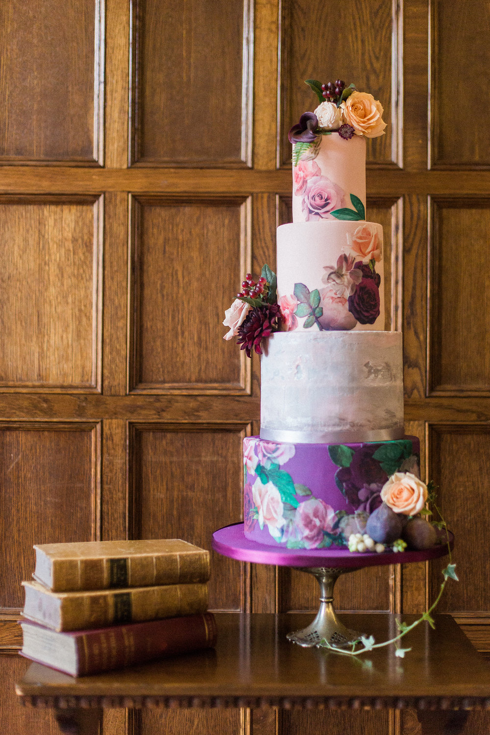 purple floral foliage cake wedding