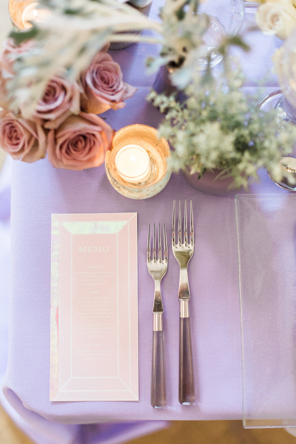 place setting wedding lilac