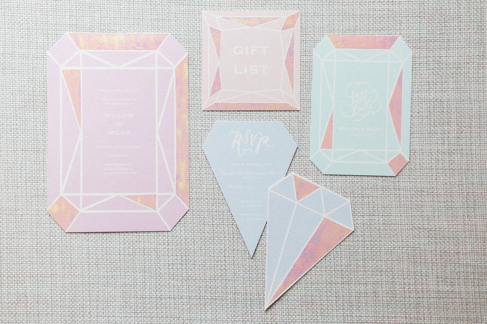 invitations stationery gem holographic