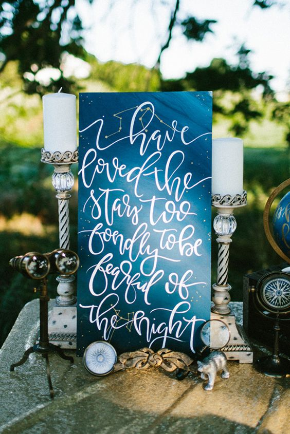 wedding inspiration star moon space cosmic galaxy