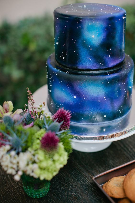 wedding inspiration ideas theme stars moon space cake