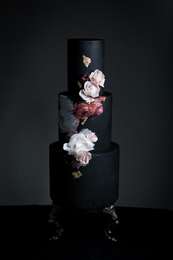 dark moody wedding cake
