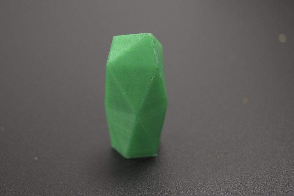 Niklas printed this little test piece at the FABLAB for me before I made the bigger one. I'd spent all night making the model but still wasn't quite sure about the shape in real life. It looked cool enough. I tried smoothing it up in the top and the sides with a dremel but the results were not so good on the PLA.