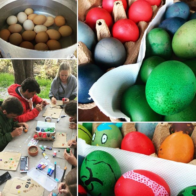 It's part of local Easter tradition to dye eggs and decorate them. This afternoon we took a brief break from the week's epic hiking and beach cleaning to embrace our inner artists and get creative. #lesvos #volunteering #greekeaster