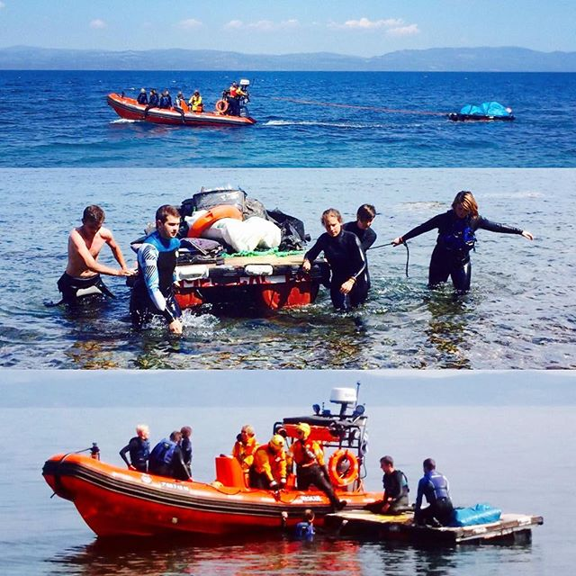 Team eco being particularly badass today with the help of one of the SAR teams. We collected 2 piles of dinghy from Korakas with our amazing raft! 🌊💪 #beachcleaning #eco #volunteering #lesvos #dinghy #ecowarriors