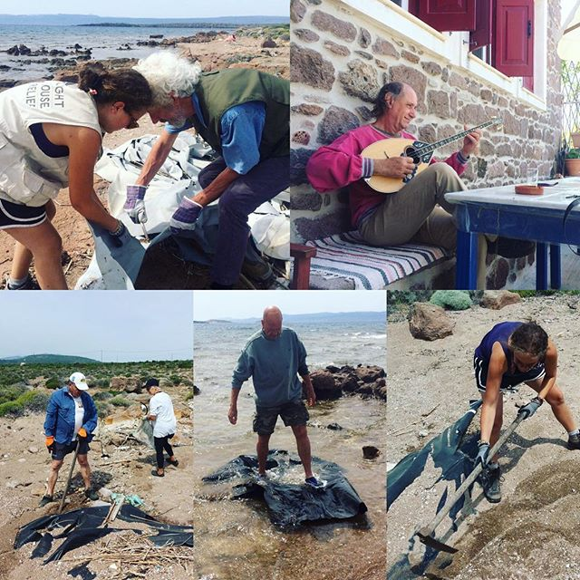 Yesterday we started cleaning a new location, in Palios. The locals chipped in and together we managed to collect a lot of debris. They were so grateful and welcoming, we even got serenaded. #teamwork #beachcleaning #eco #volunteering #lesvos