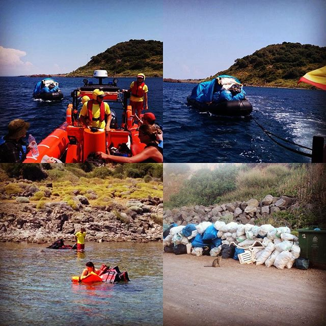 Light house relief with the help of proactiva collected one super full dinghy of rubbish. Finally we took everything out, Theodora beach clean after 3 trips!!!! 🐋 #eco #cleanwater #enviroment #lesvos