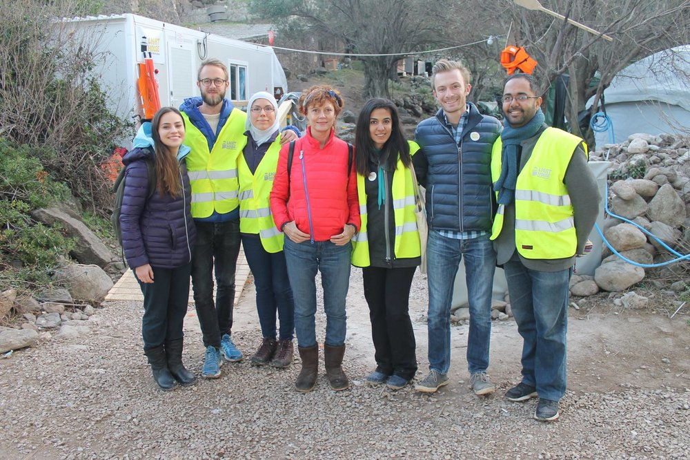 Staff, volunteers and Lighthouse Relief's Board Chairman pose with actress and activist Susan Sarandon in Lesvos.